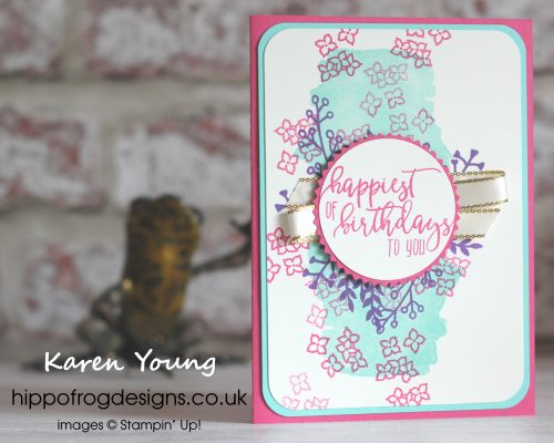 Love What You Do from Stampin' Up! Birthday card designed by Karen Young at HIPPOFROG Designs