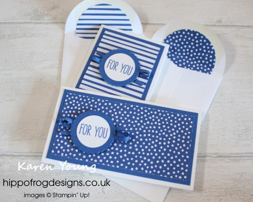 Narrow Notecards from Stampin' Up! Project designed by Karen Young at HIPPOFROG Designs