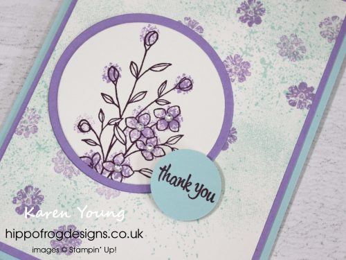Thank you card using Touches of Texture Stamp Set from Stampin' Up! Project designed by Karen Young at HIPPOFROG Designs