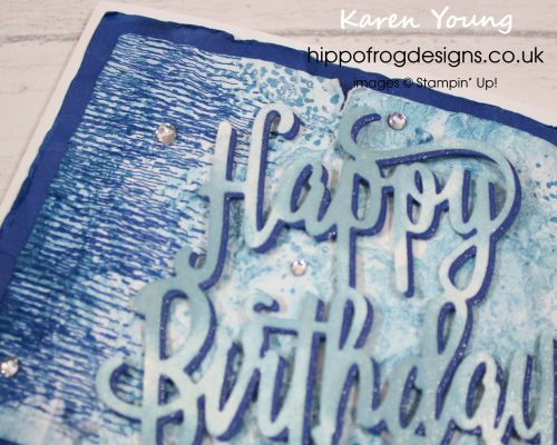 Blue and Grunge Birthday Card. Designed and handmade by Karen at HIPPOFROG Designs