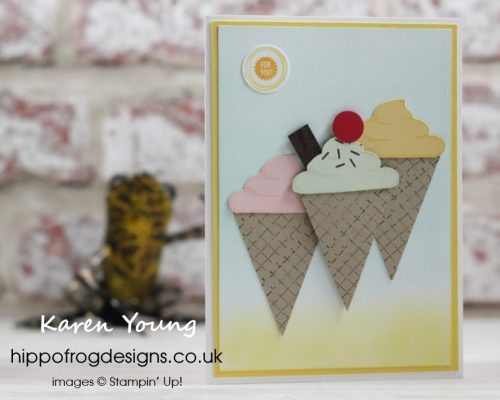 Ice Cream Card & Cuppa project. Designed by Karen at HIPPOFROG Designs
