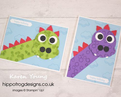 Punch Art Dragon. Card & Cuppa project designed by Karen at HIPPOFROG Designs