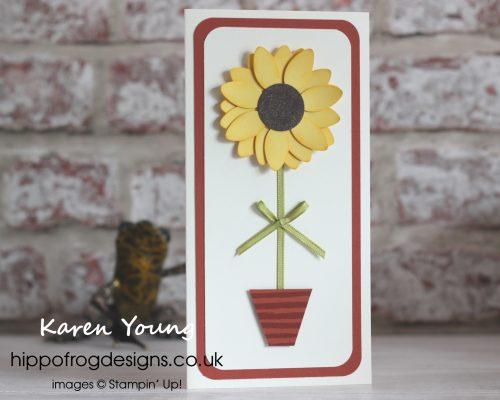 Sunflower using the Christmas Bulb Builder Punch. Designed by Karen at HIPPOFROG Designs