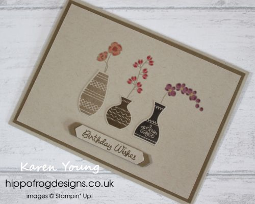 Varied Vases Card & Cuppa Project. Designed by Karen Young at HIPPOFROG Designs