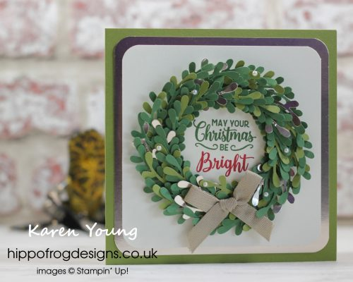 Christmas Wreath using Sprig Punch from Stampin' Up! Project designed by Karen at HIPPOFROG Designs