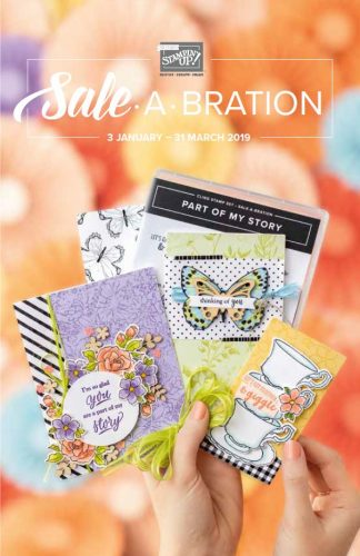 Stampin' Up! Sale-A-Bration Cover (2019 SAB). Products available from Karen at HIPPOFROG Designs