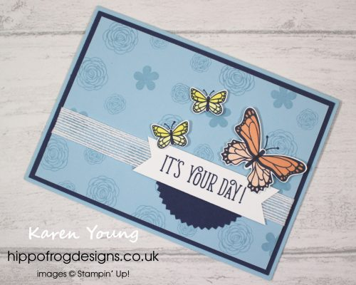 Butterfly Gala Bundle Card & Cuppa Project. Designed and taught by Karen at HIPPOFROG Designs