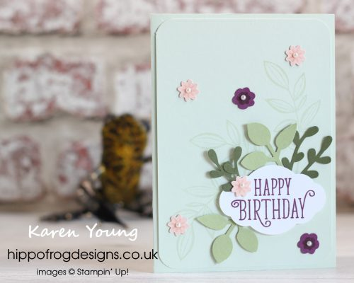 Spring Blooms Card & Cuppa Project. Designed and Handmade by Karen at HIPPOFROG Designs