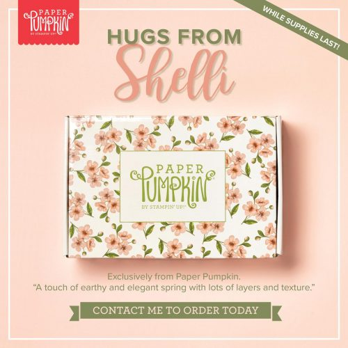 Hugs from Shelli Paper Pumpkin Kit. Contact Karen at HIPPOFROG Designs for more details