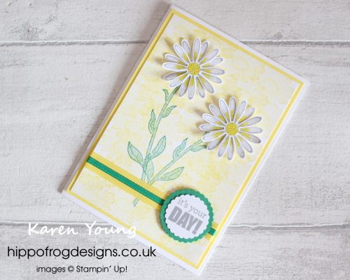 Daisy Lane Bundle Card & Cuppa project. Designed by Karen at HIPPOFROG Designs
