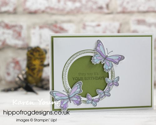Butterfly Gala and Stampin' Blends Card & Cuppa project. Designed by Karen at HIPPOFROG Designs