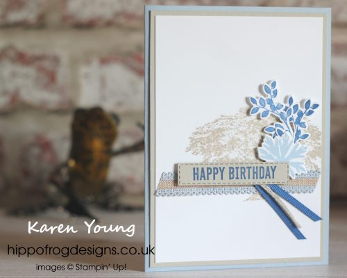 Rooted In Nature with In Color blues. Card & Cuppa project designed by Karen at HIPPOFROG Designs