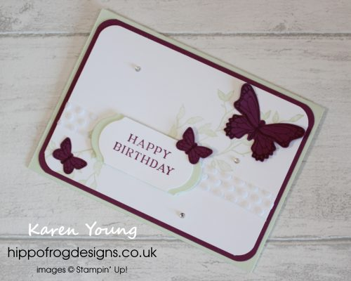 Butterfly Gala Birthday Card. Project designed by Karen at HIPPOFROG Designs