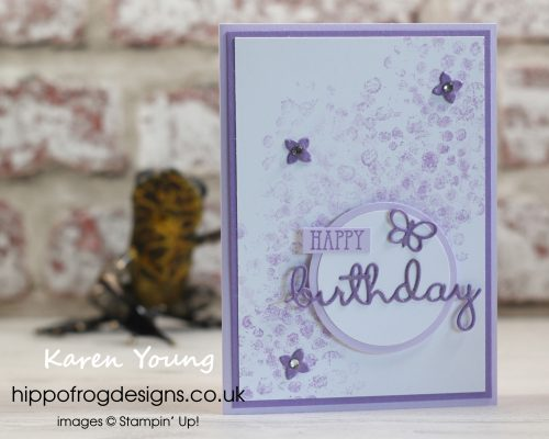 Pink and purple Birthday Cards. Designed by Karen at HIPPOFROG Designs.