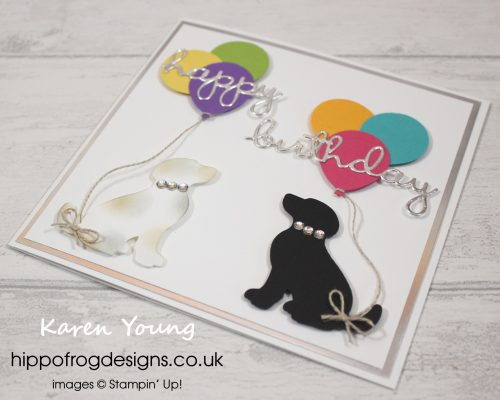 Doggy Duo saying Happy Birthday. Project designed by Karen at HIPPOFROG Designs