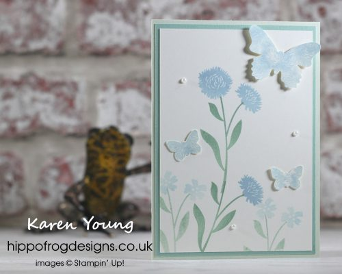 Fields of flowers Stamp Set with Butterflies. Project designed by Karen at HIPPOFROG Designs