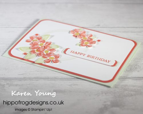 Blossoms in Bloom Birthday Card. Project designed by Karen at HIPPOFROG Designs