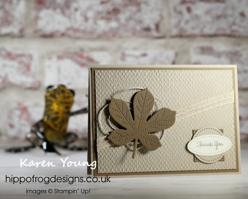 Muted Colours with Texture and a Leaf. Project designed by Karen at HIPPOFROG Designs