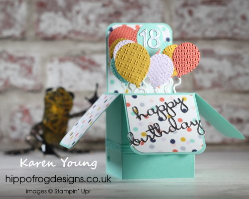 A Box of Birthday Balloons. Project designed by Karen at HIPPOFROG Designs