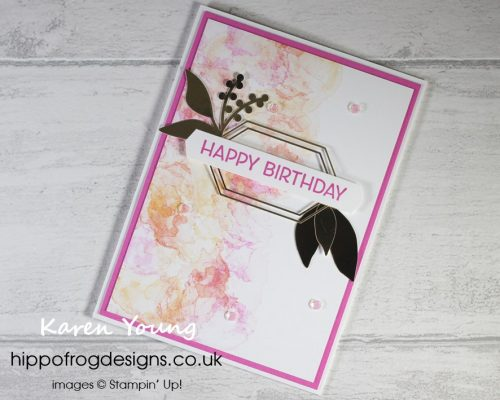 Marvellous Mango Melody, Calypso Coral & Magenta Madness Marbling. Project designed by Karen at HIPPOFROG Designs
