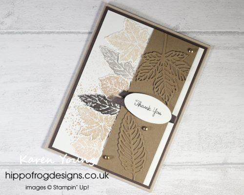 Gorgeous Leaves Bundle lin Shades of Brown. Project designed by Karen at HIPPOFROG Designs