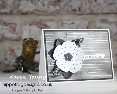 Monochrome with Strawberry Builder Punch. Project designed by Karen at HIPPOFROG Designs