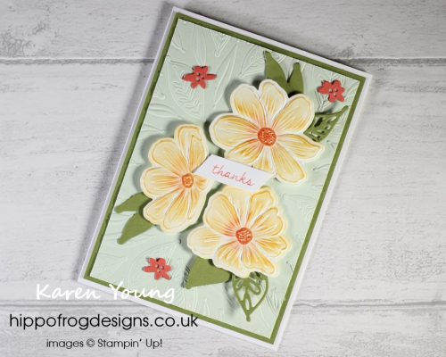 Bloom Hybrid Embossing Folder.Project designed by Karen at HIPPOFROG Designs