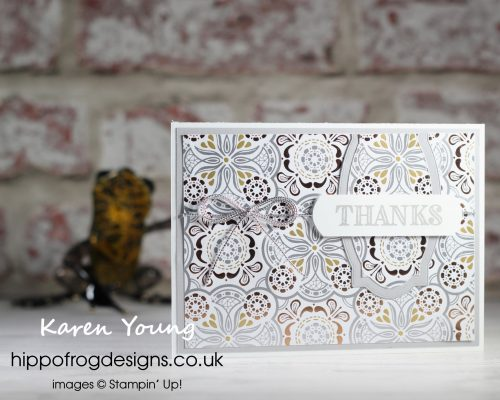 Silvery Simply Elegant Thanks. Project designed by Karen at HIPPOFROG Designs